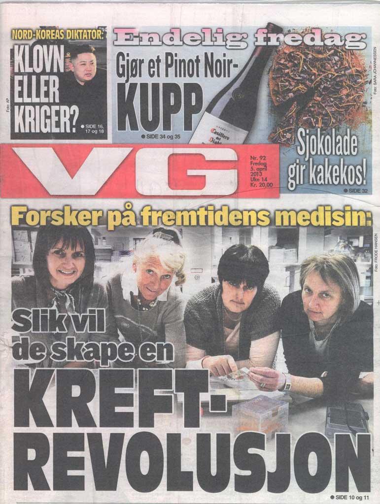 Figur 2. Forsiden av VG, 5. april 2013. Fra venstre:  Anne Hansen Ree, Anne-Lise Børresen-Dale,  Kjersti Flatmark og Gunhild M. Mælandsmo.