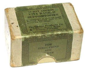 Radium suppositories to supply the body with 'health-giving electricatoms'. Google pictures.