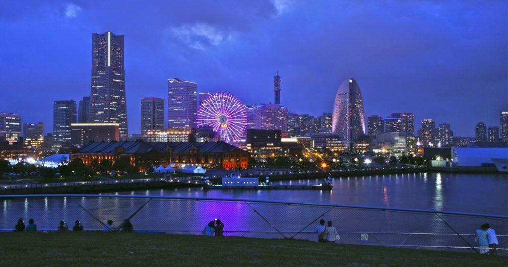 Yokohama skyline.