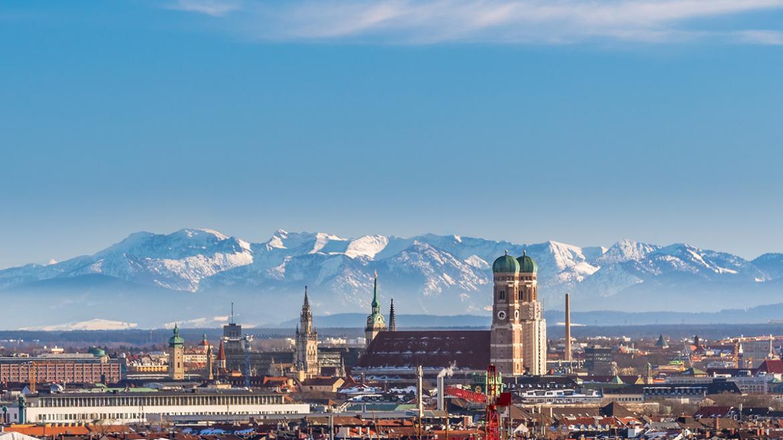 München med Alpene i det fjerne.