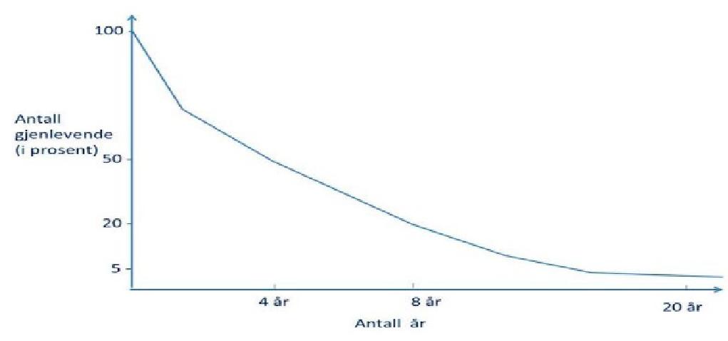 Figur 1. Overlevelseskurven vist til forsøkspersonene ibetingelsene B1 og B2.