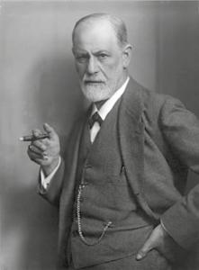 Figur 4: Sigmund Freud (1856 - 1939) med en Don Pedro i høyre hånd. (Wikipedia)